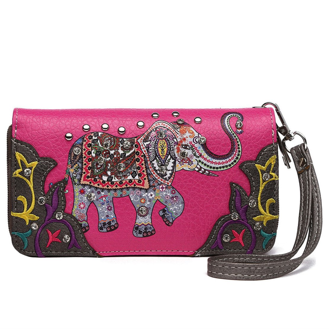 Elephant Floral Spring Rhinestone Studded Western Style Country Purse Wrist Strap Women Wristlets Wallet (Fuchsia) by Cowgirl Trendy