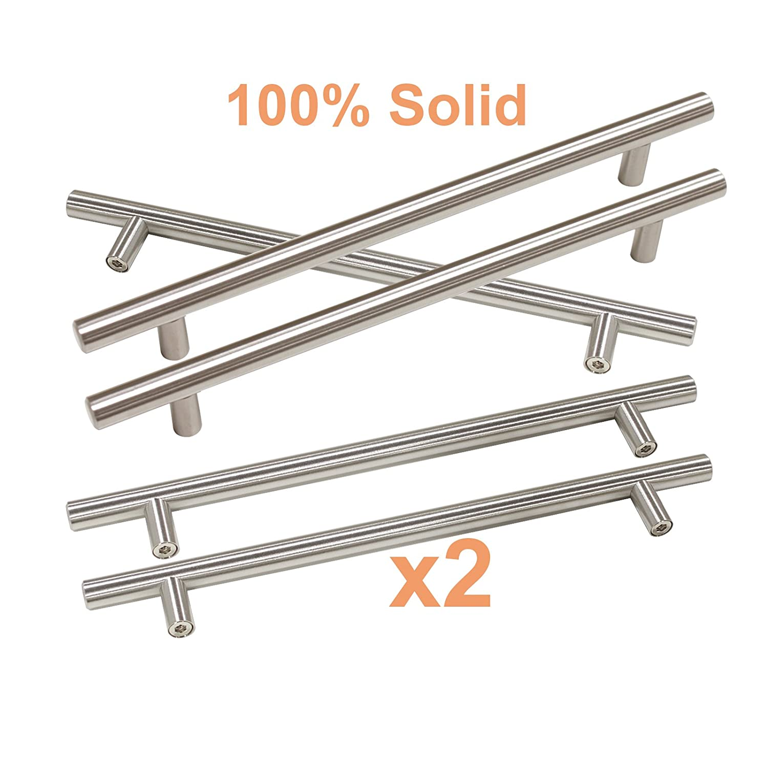 Hole Centers Satin Nickel Drawer Cabinet Wardrobe Kitchen Handles Pulls Gobrico Hollow T Bar 3-3//4 96mm 6 Overall Length-Pack of 10 6 Overall Length-Pack of 10