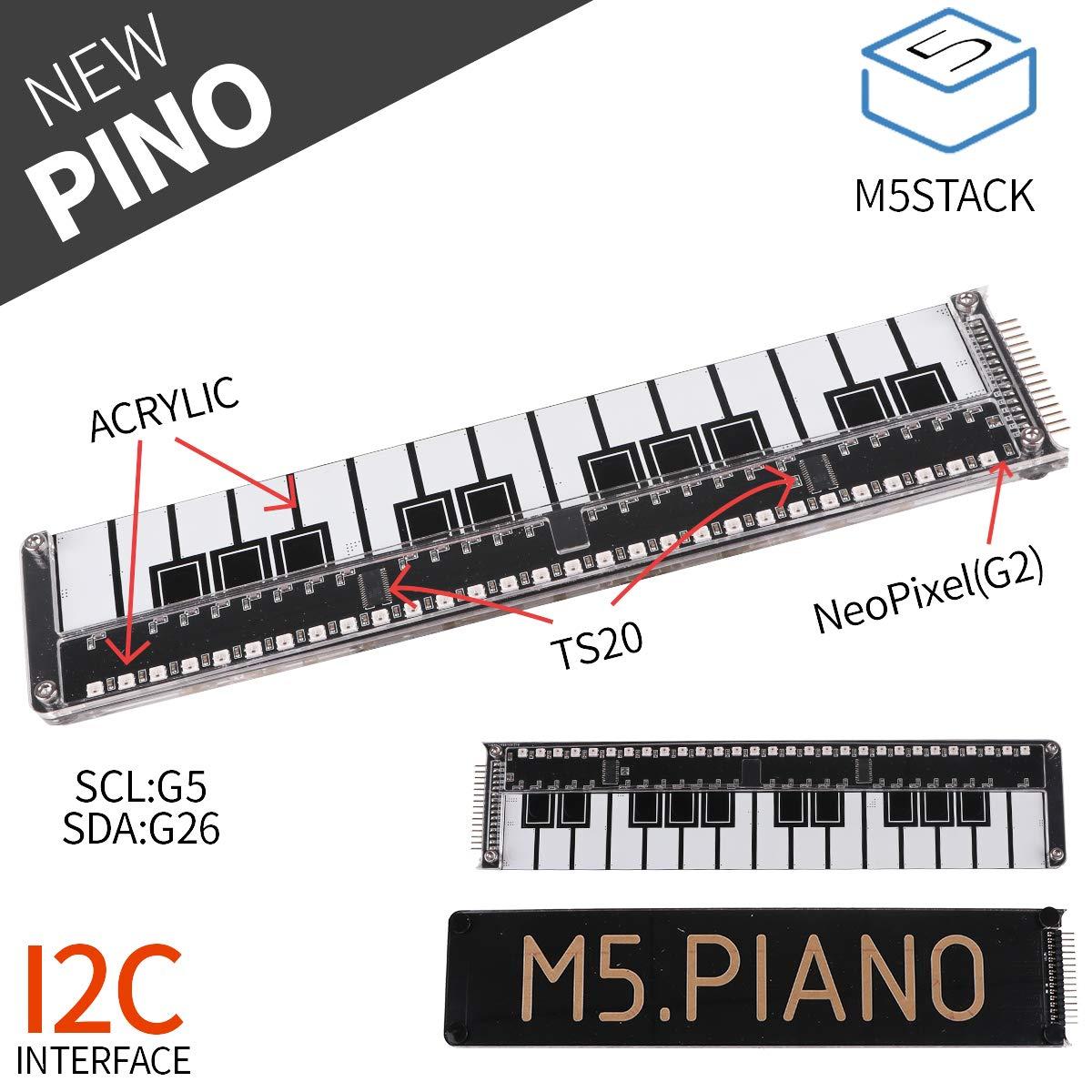 Placa de piano oficial MakerFocus M5Stack hecha de acrílico con luz LED RGB TS20 I2C para placa de desarrollo Arduino Bl