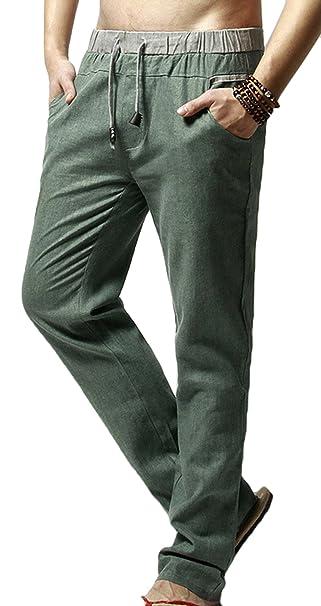 Bevalsa Herren Leinen-Hose Lange Hose Bequeme Stoffhose aus Hochwertiger  Leinenmischung Men Casual Strandhosen Freizeithosen 65548ea913