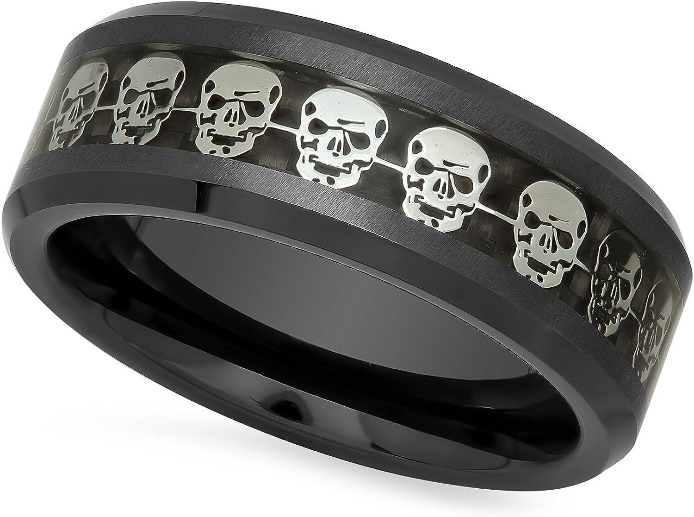 The Bling Factory Black Ceramic 8mm Comfort Fit Ring w/Skulls & Black Carbon Fiber Inlay + Microfiber