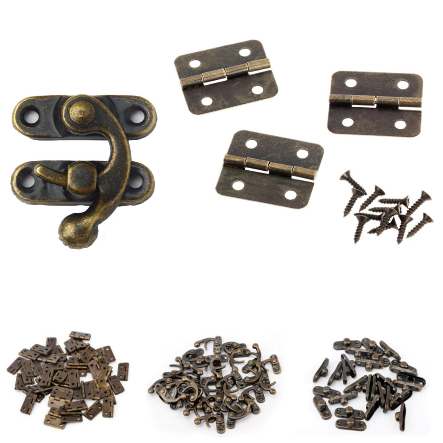 MANSHU 40pcs Small Box Hinges 20 Sets Antique Right Latch Hook Hasp Wood Jewelry Box Hasp Catch Decoration with 240 Pieces Replacement Screws Bronze Tone