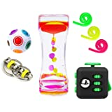Fidget Toys 7 Pack Sensory Toys by Vital Toys- Includes Liquid Motion Bubbler,Magic Ball,Fidget Cube,Stretchy Strings,Flippy Chain/Ideal Set of Autism Toys/Stress Relief Toys for ADHD,ADD and Anxiety.