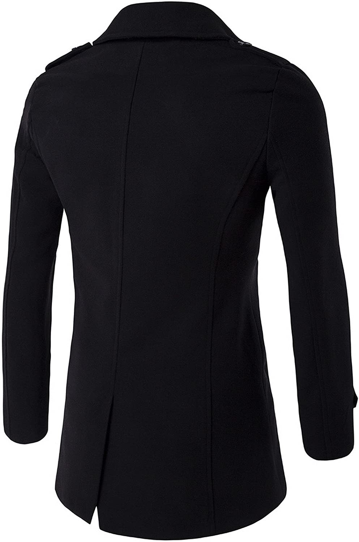 Elonglin Men Coat Jackets Mid-Long Double-Breasted Blazer Costume Reefer Overcoat
