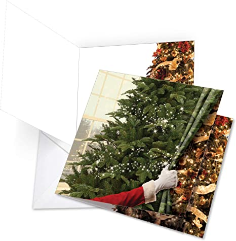 Curtain Miracles Beautiful Festive Merry Christmas Card With Envelope Extra Large 8 25 X 9 75 Inch Xmas Tree Stationery Santa Claus Gift