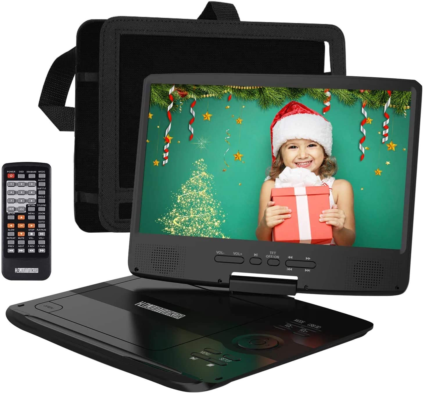 "HDJUNTUNKOR Portable DVD Player with 10.1"" HD Swivel Display Screen"