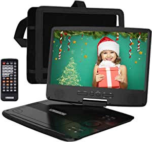 """HDJUNTUNKOR Portable DVD Player with 10.1"""" HD Swivel Display Screen, 5 Hour Rechargeable Battery, Support CD/DVD/SD Card/USB, Car Headrest Case, Car Charger, Unique Extra Button Design"""
