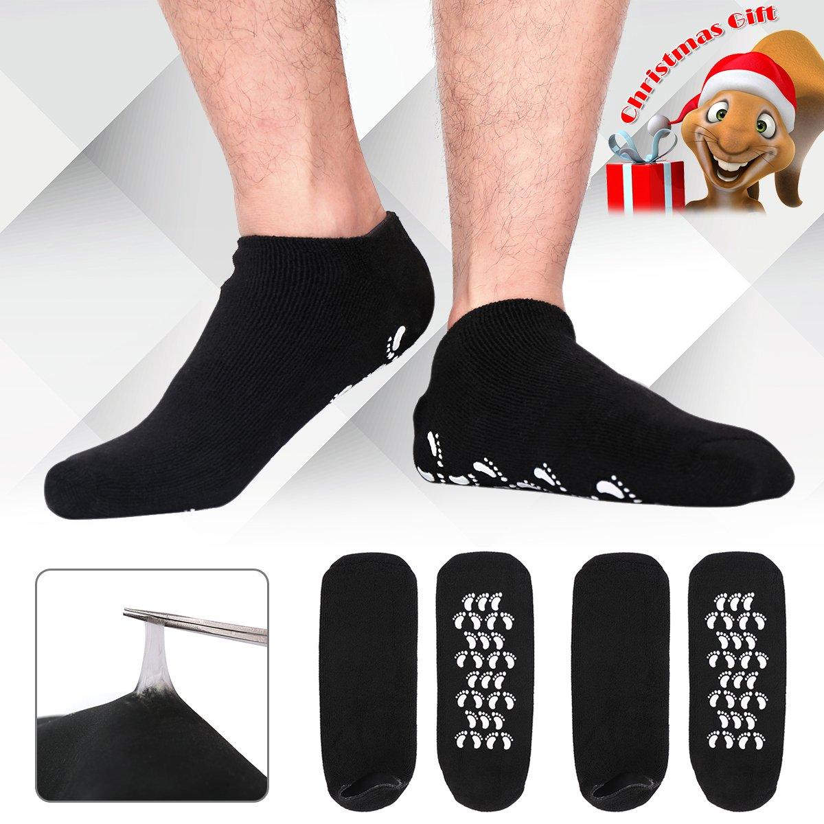 Christmas Gifts for Men, Happon Large Men's Moisturizing Gel Socks Men's Feet Care Ultimate Treatment for Dry Cracked Rough Skin on Feet Pack of 2 Pairs Black US Men 10-15