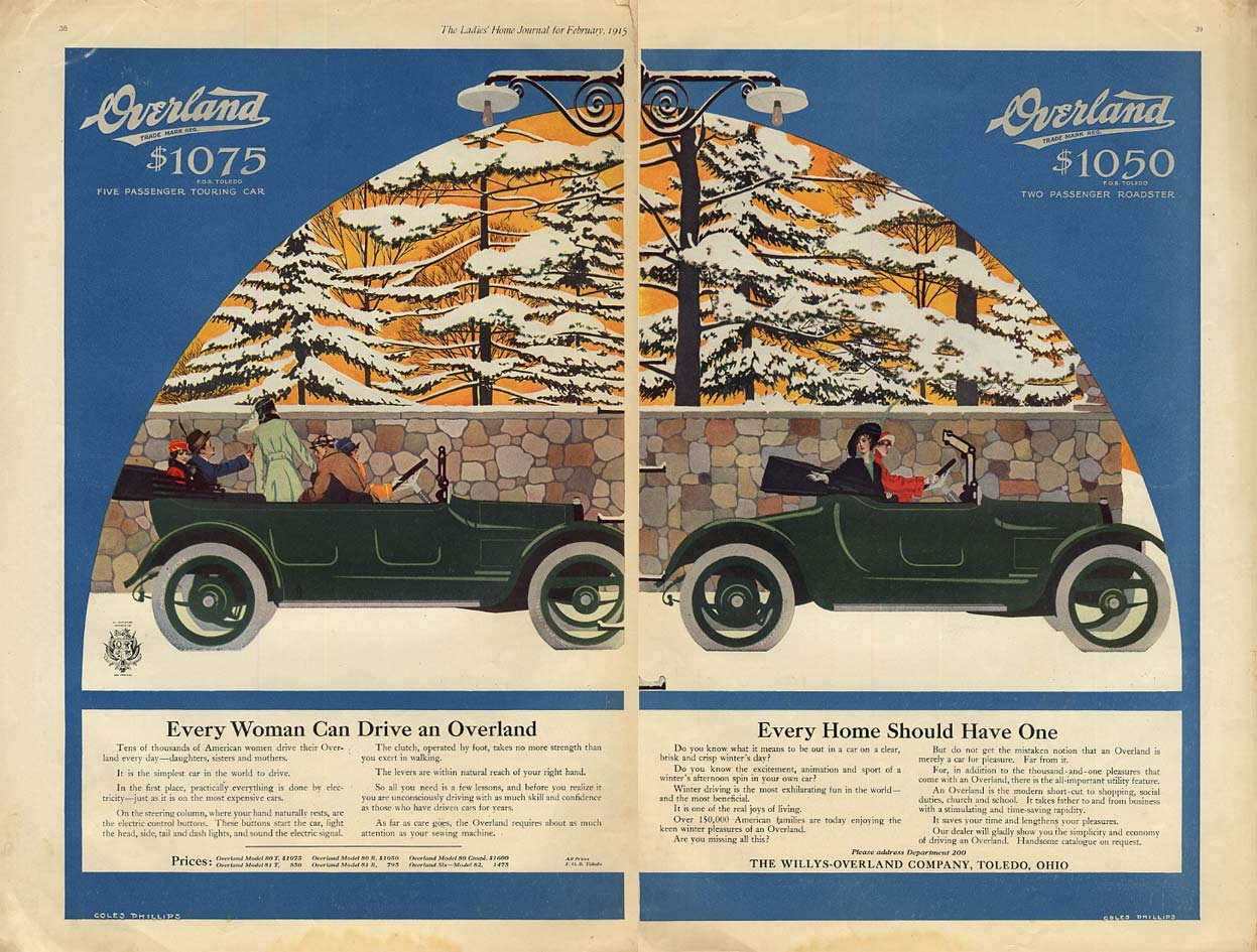 Every Woman Can Drive One - Overland Roadster ad 1915 Coles Phillips at Amazons Entertainment Collectibles Store