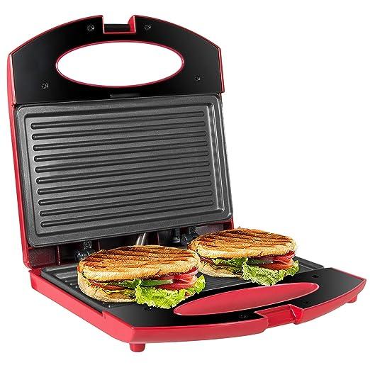 OZAVO Sandwichera Grill,Parrilla Eléctrica,Placas de Grill Electricas Antiadherentes 750W con Capacidad para 2 Sándwiches Tostadoras
