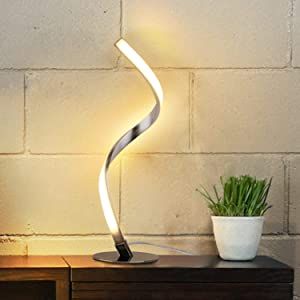 Albrillo Spiral Design LED Table Lamp - Touch Sensor Dimmable Desk Lamp, 3 Colors Bedside Lamps of Stainless Steel, 1.5m Cable, 9W 450LM Nightstand Lamps, for Bedroom, Office, Living Room