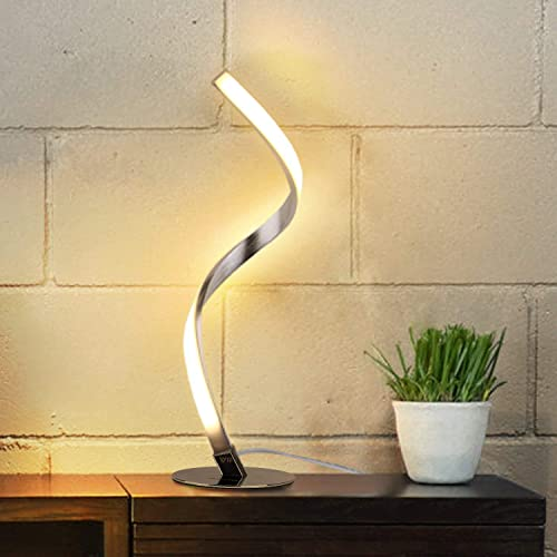 Albrillo Spiral Design LED Table Lamp – Touch Sensor Dimmable Desk Lamp, Warm White 3000K Bedside Lamps of Stainless Steel, 1.5m Cable, 5W 450LM Nightstand Lamps, for Bedroom, Office, Living Room