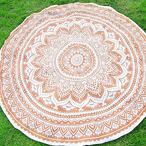 YJ-Bear Solid Color Round Indian Mandala Boho Beach Towel Th