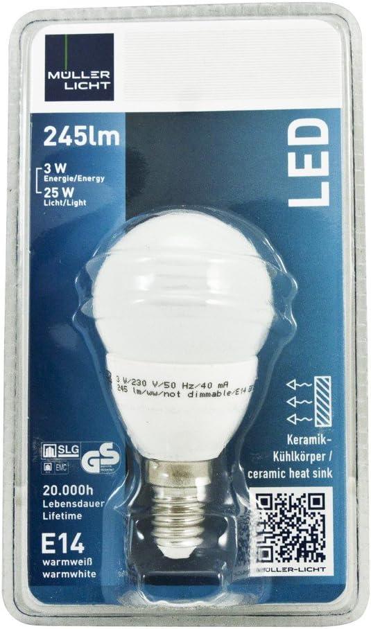 26W 56018 9X Müller Licht E14 LED Leuchtmittel Kerzenform Windstoß 3W 2700K A