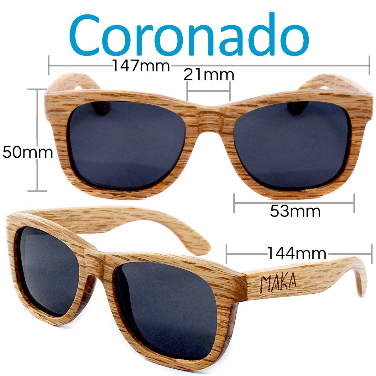 5434fb6735 Amazon.com  Maka Wear Wood Sunglasses - Coronado Wayfarer Style Polarized  Duwood Sunglasses  Sports   Outdoors
