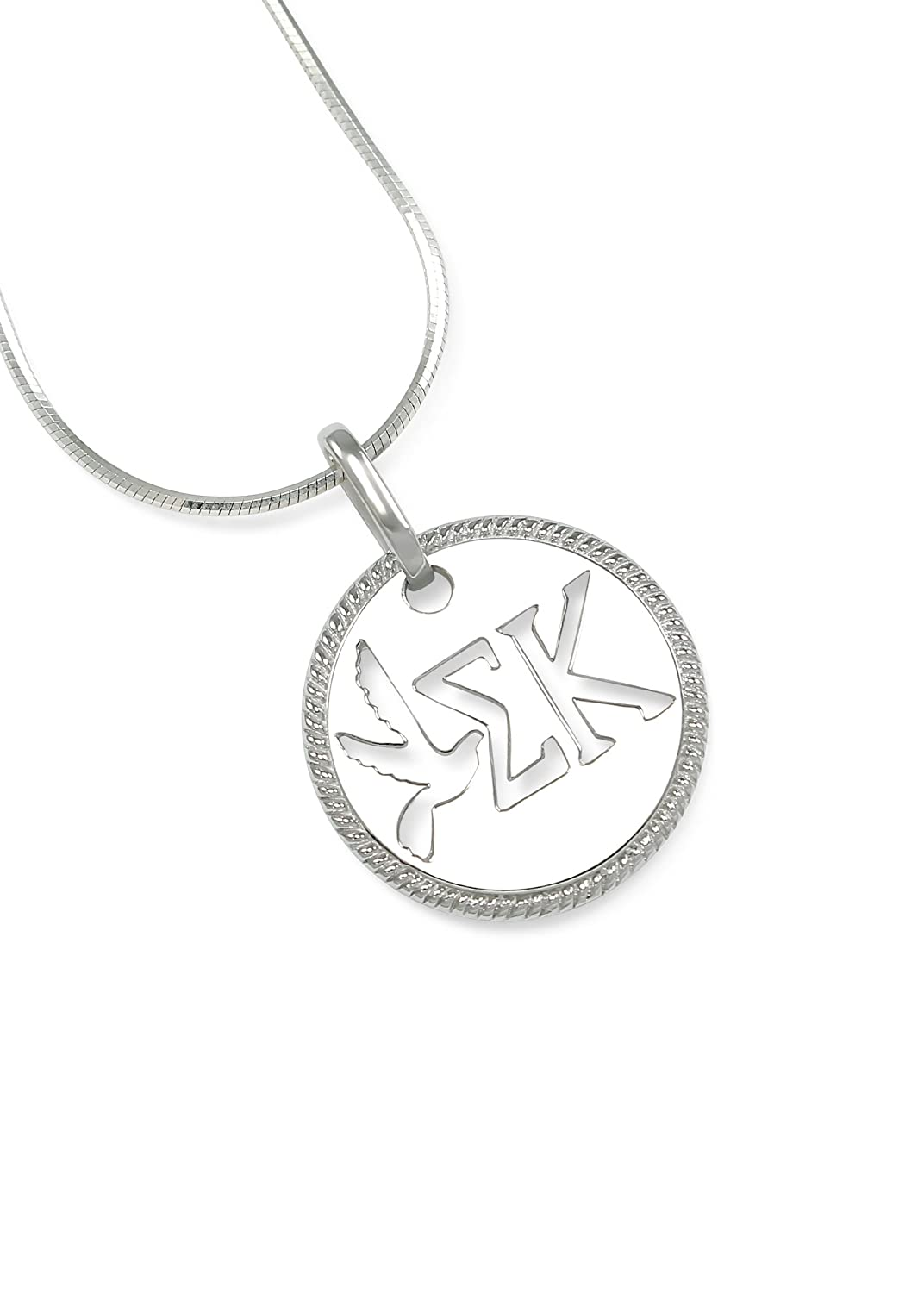 The Collegiate Standard Sigma Kappa Sterling Silver Circular Pendant with Cut-out Dove and Letters