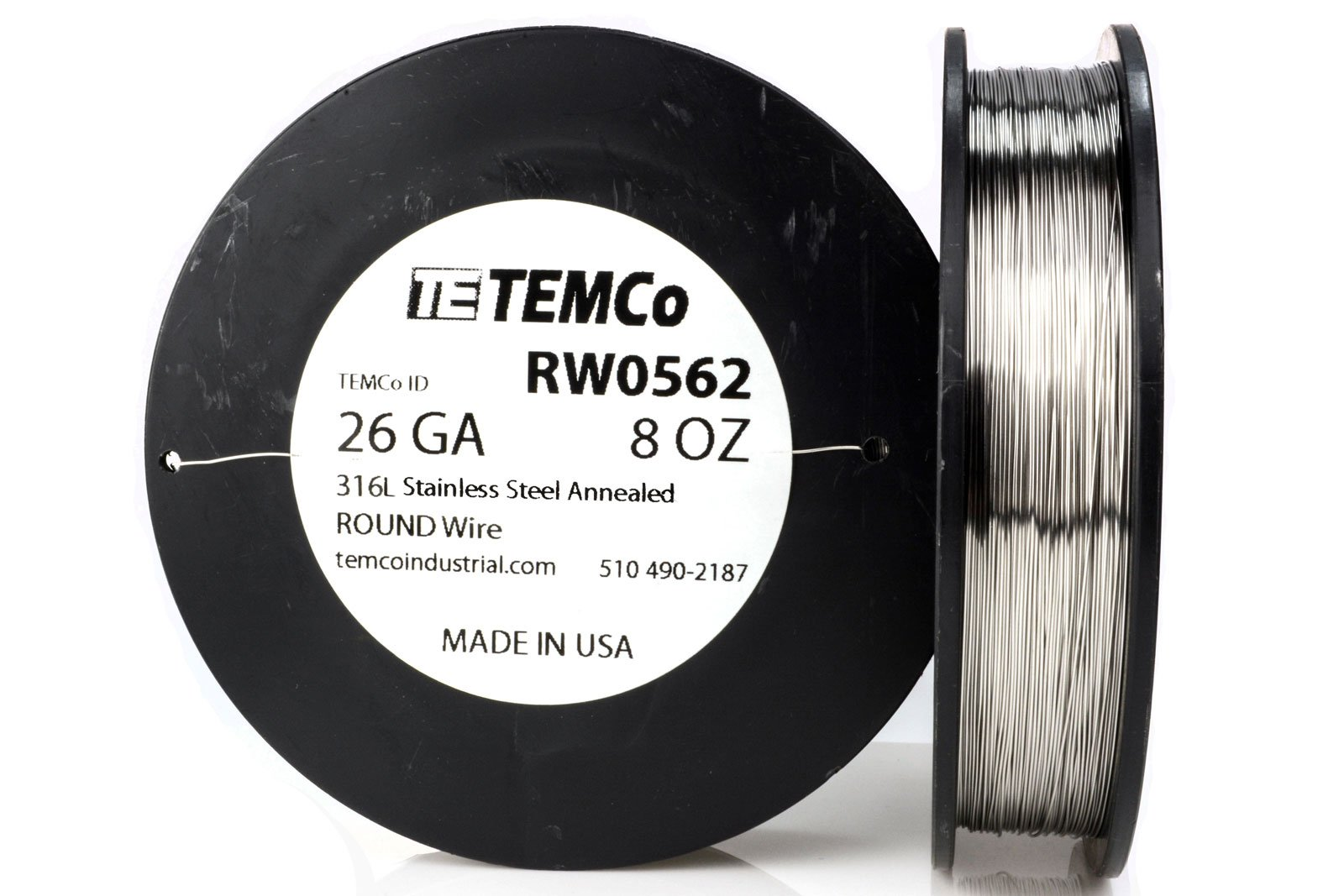 TEMCo Stainless Steel Wire SS 316L - 26 Gauge 8 oz (734 ft) Non-Resistance AWG ga by Temco (Image #1)