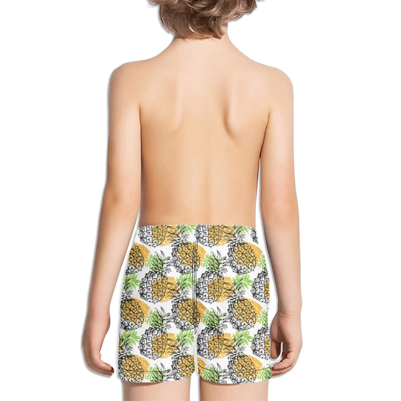 Shorts Swimming Tucks for Kid Quick Dry Side Split Fully Lined Swimming Tucks Vintage Medium Length Colorful Pineapple