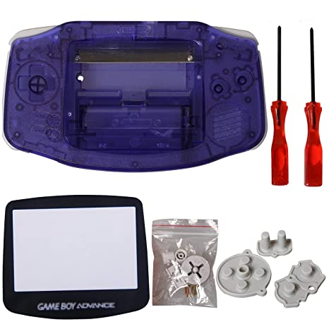 eJiasu Full Parts Replacement Housing Shell Repair Part Case Cover for Nintendo Gameboy Advance GBA (1PC GBA Shell Transparent Purple with Lens and ...