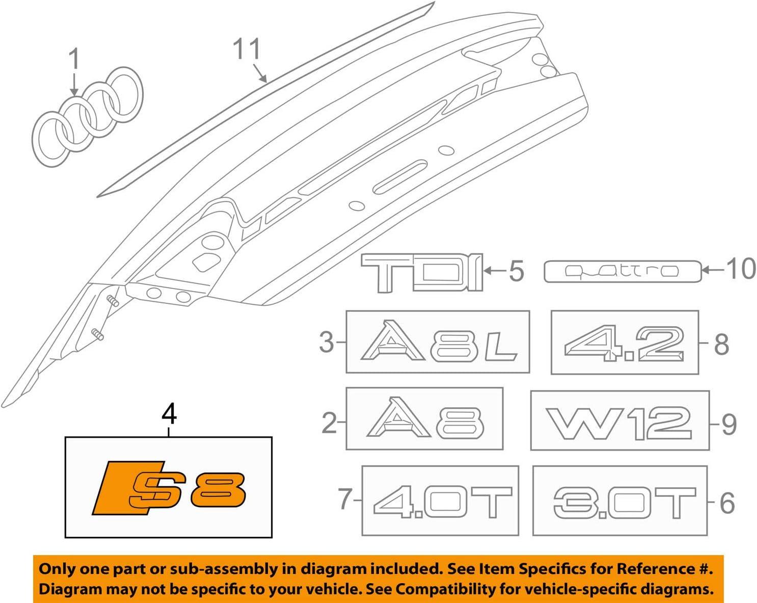 Genuine Audi A7 2011 S7 Rear Nameplate Lettering Badge Emblem