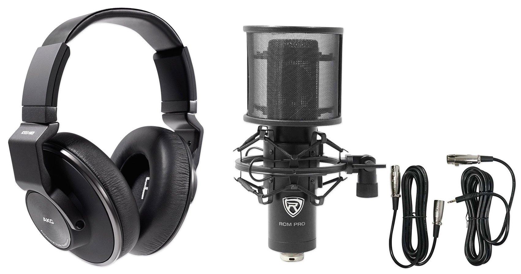 AKG K553 MK2 MKII Studio Monitoring Headphones+Recording Condenser Mic+Filter