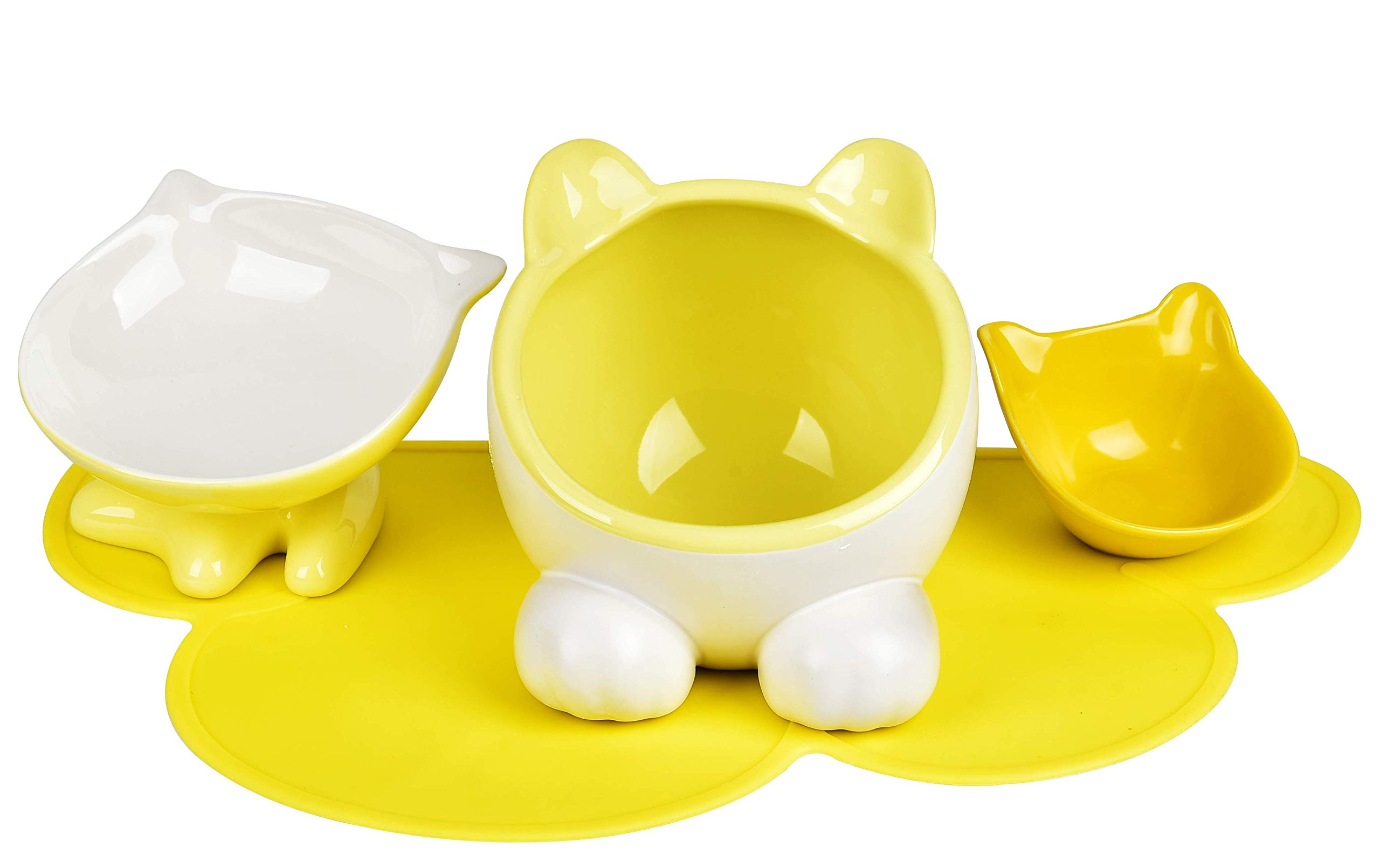 ViviPet Q Bowl and Big Head Water Bowl and Mini Bowl for Cat and Dog with Silicone Food Mat Set of Four (Lemon)