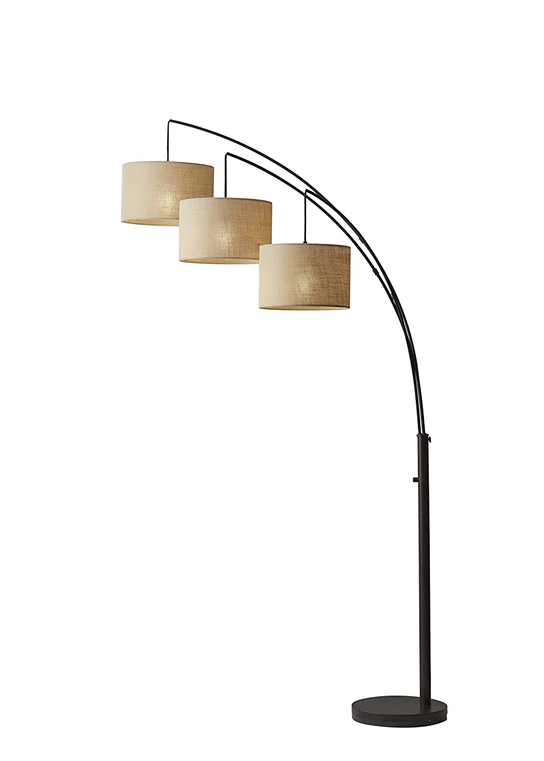 Adesso 4238-26 Trinity Arc Floor Lamp Antique Bronze Finish, Beige Burlap Lamp. Home Decor Lamps and Light Fixtures, 82
