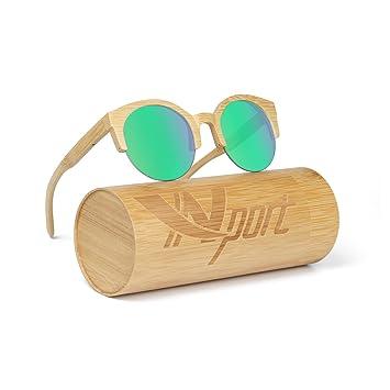 Ynport Crefreak - Lunettes de soleil - En bois de bambou véritable - Poids plume - Homme - Femme , Homme, Green, taille unique
