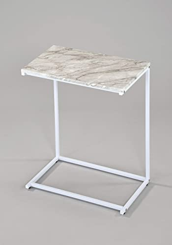 White Faux Marble Top White Frame Snack Side End C Table Laptop Breakfast