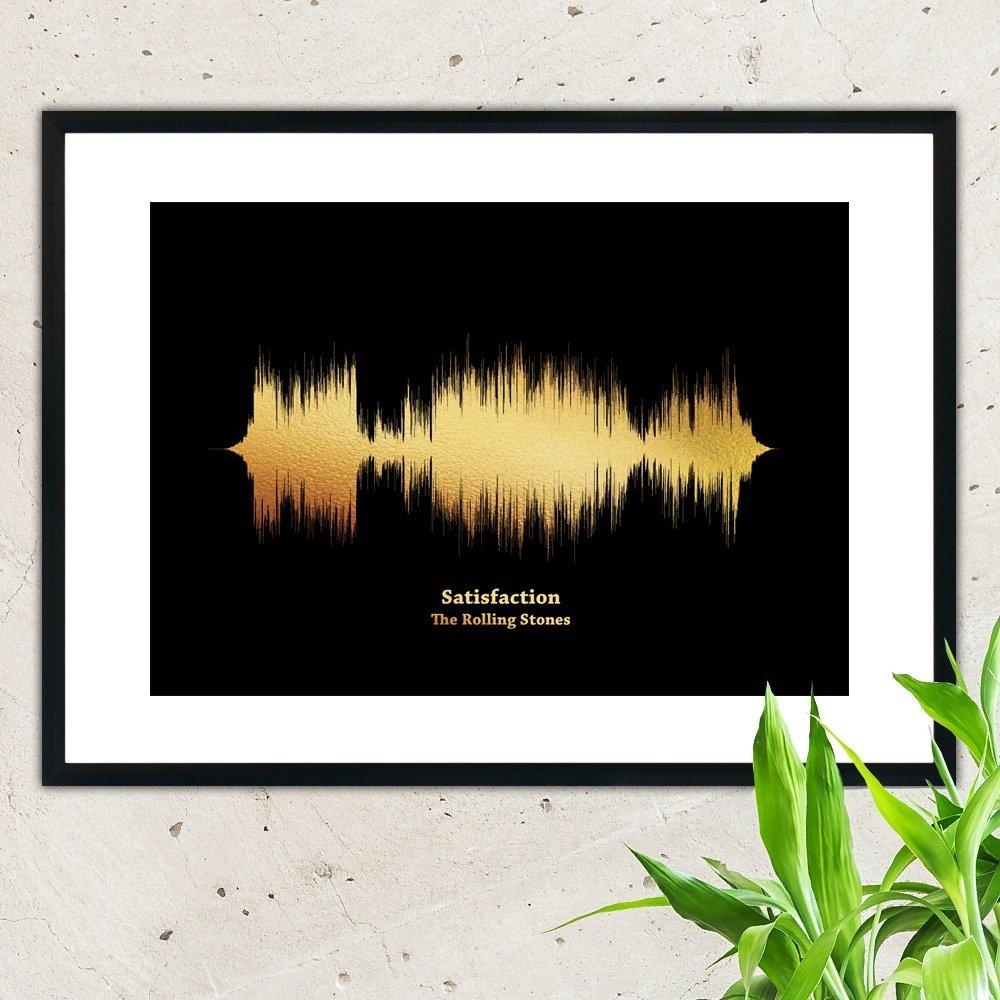 Print your Favourite Song, Wall Hanging, Golden Metallic Foil Sound Wave - Soundwave Art, Wave Art Decor, Art Print, Wall Decor, Anniversary Gift