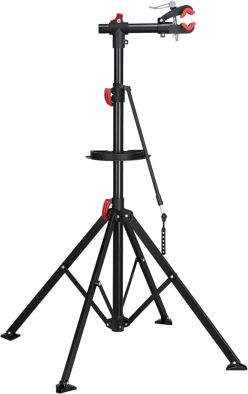 360° Swivel Adjustable Folding Bike Repair Stand Mechanic Rack w// Telescopic Arm
