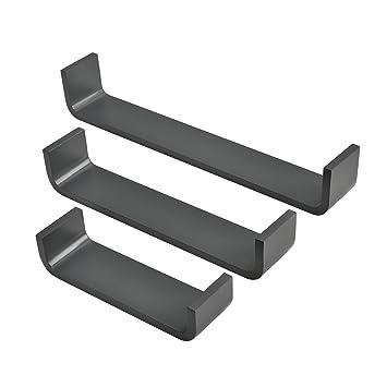 [en.casa] Estantería de pared estilosa 3 piezas gris oscuro mate diseño retro: Amazon.es: Hogar
