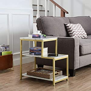 ROSEN GARDEN 3-Tier End Table, Side Table with Shelves, Faux Marble Wood Nightstand with Storage Display Shelf, Stable Metal Frame, Modern Furniture for Sofa Couch Side Living Room Entryway Bedroom