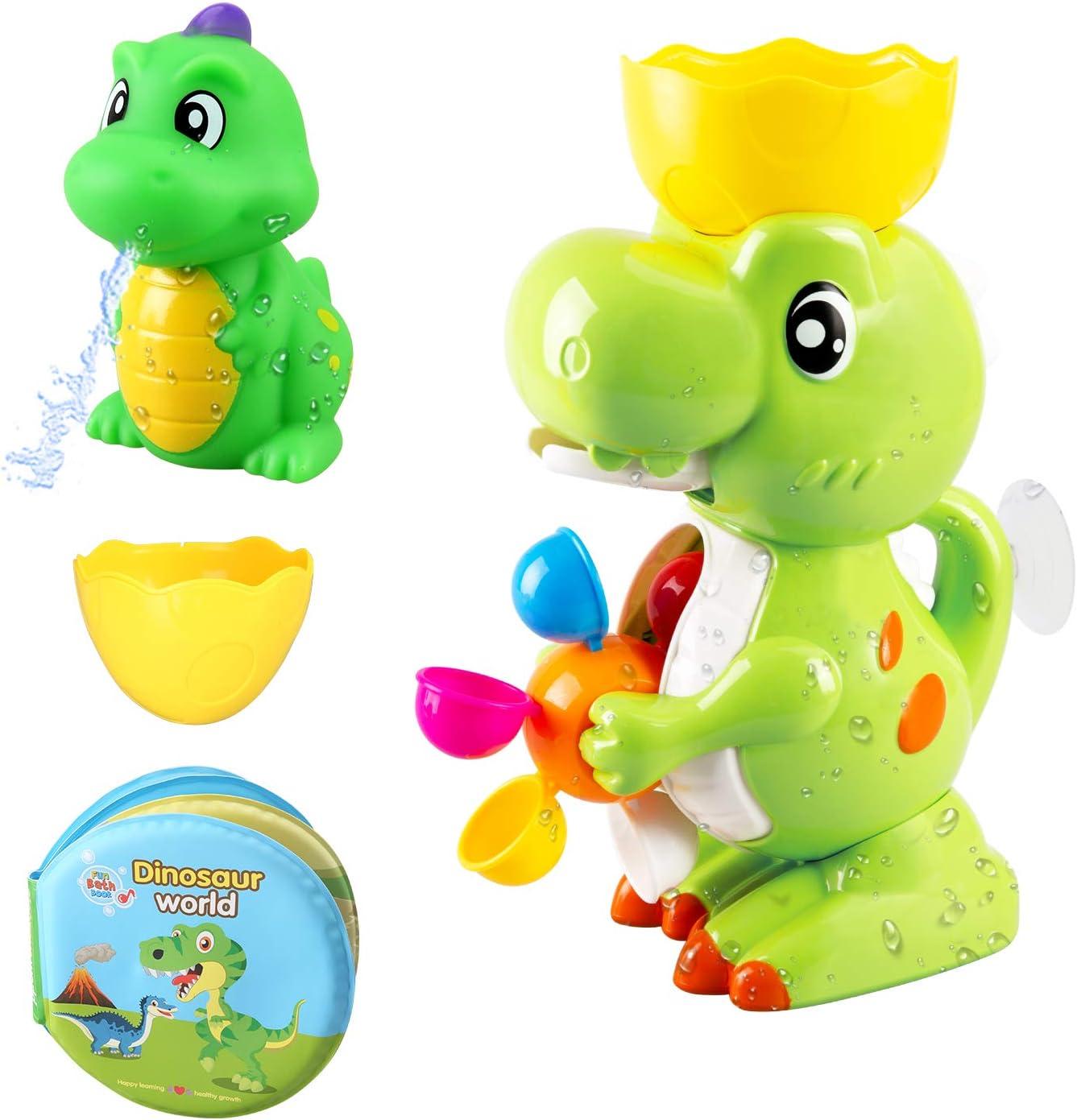 BeebeeRun Baby Bath Toy Dinosaurio Baño Toy con Dino Bath Libro Fuente Dinosaurio Toy Bath Juego para niños pequeños Niños Niños Niñas 1 2 3 4 años