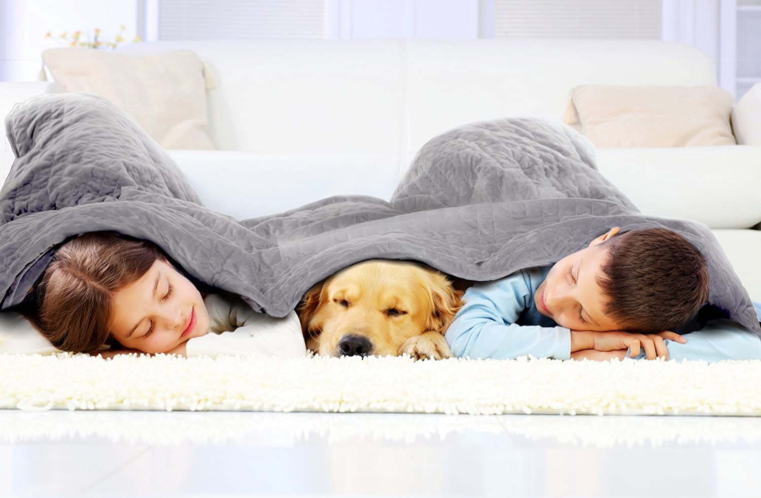 Weighted Blanket Deluxe Set - Patented ContourWave Weighted Blanket & Luxurious Micro-Plush Cover
