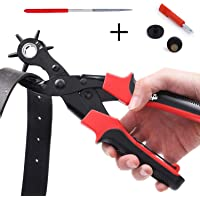 TOOGOO Hole Punch Plier, Revolving Heavy Duty Leather Hole Punching Tool for Belts, Purses, Watch Bands and More, 6 Sizes- 2mm, 2.5mm, 3mm, 3.5mm, 4mm, 4.5mm