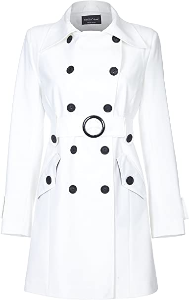 De la Creme Womens Spring Belted Trench Coat