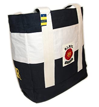 2df912ae37 Amazon.com | Polo Ralph Lauren Rugby Vintage Rare Canvas Carryall Tote Bag  Black Cream Striped | Travel Totes