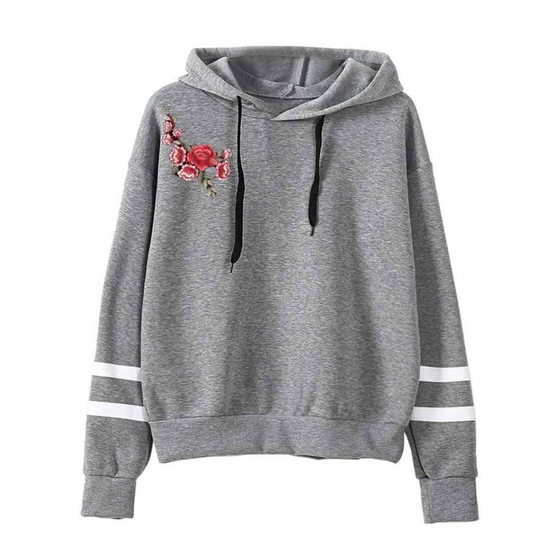 XUANOU Womens Long Sleeve Simple Style Hoodie Sweatshirt Jumper Hooded Pullover (Large, Gray 2)