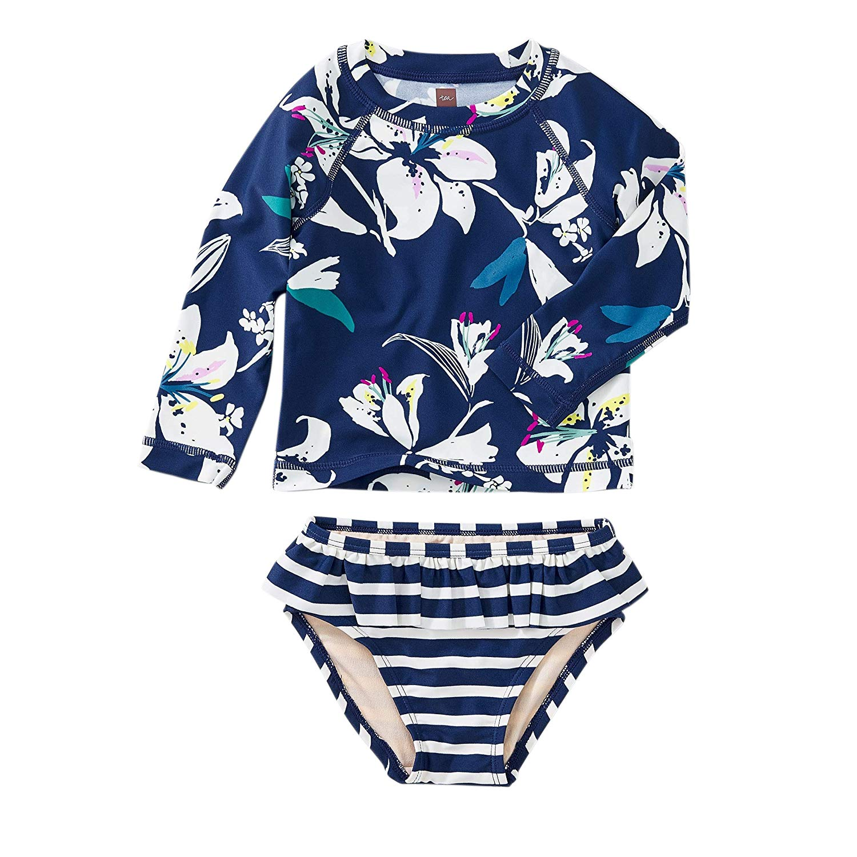 Tea Collection Rash Guard Swimwear Set, Girls 3T, Tropical Lillies by Tea Collection