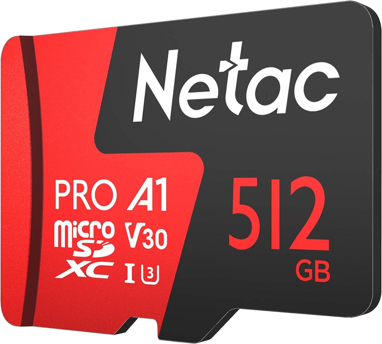 Netac 512GB P500 Pro microSDXC CL10 UHS-I U3 V30 A1 Memory Card w//SD Adapter
