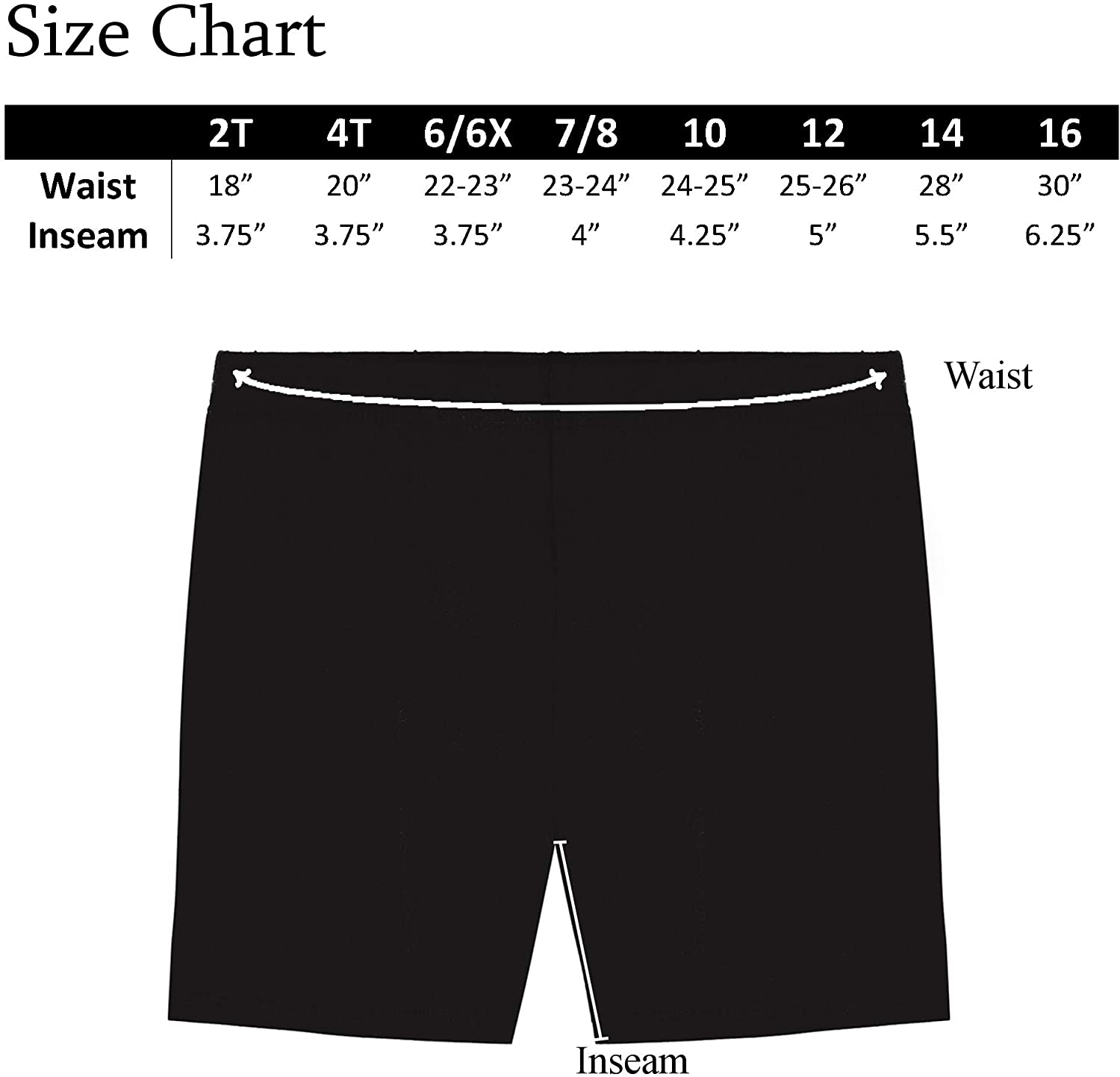 Sizes 2-16 Pack of 3 MY WAY Girls Value Pack Solid Cotton Bike Shorts