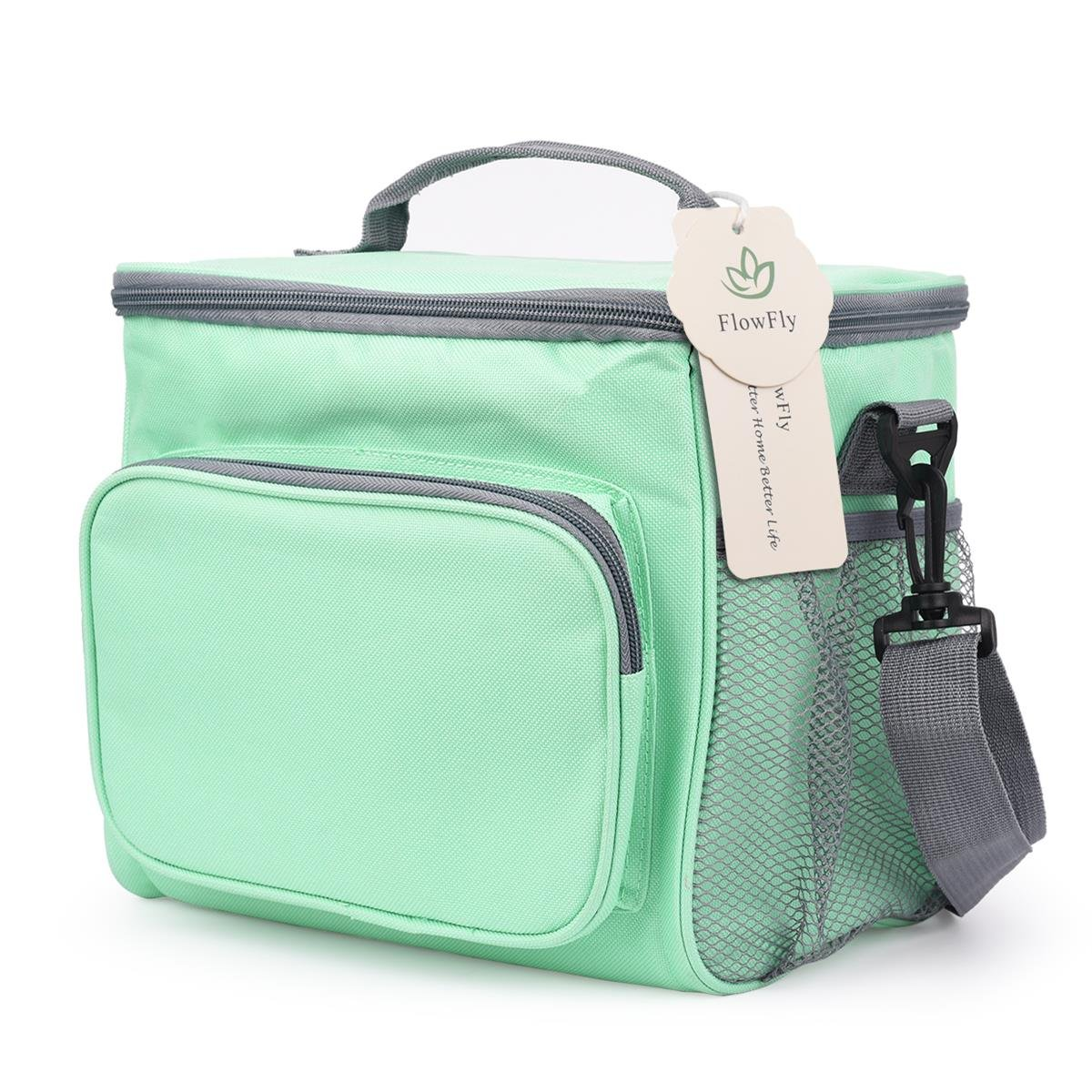 FlowFly Insulated Lunch Bag Adult Thermal Large Lunch Box Men, Women Adjustable Strap,Front Pocket Dual Mesh Side Pockets Green Flowish Inc. FW-CA-LB001-G01