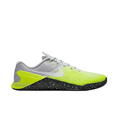 NIKE Mens Metcon 3 Training Shoes Track Platinum/Black/Volt Green 852928-006