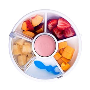 GoBe Kids Snack Spinner - Reusable Snack Container with 5 Compartment Dispenser and Lid | BPA and PVC Free | Dishwasher Safe | No Spill, Leakproof | for Toddlers, Babies, Home, Travel