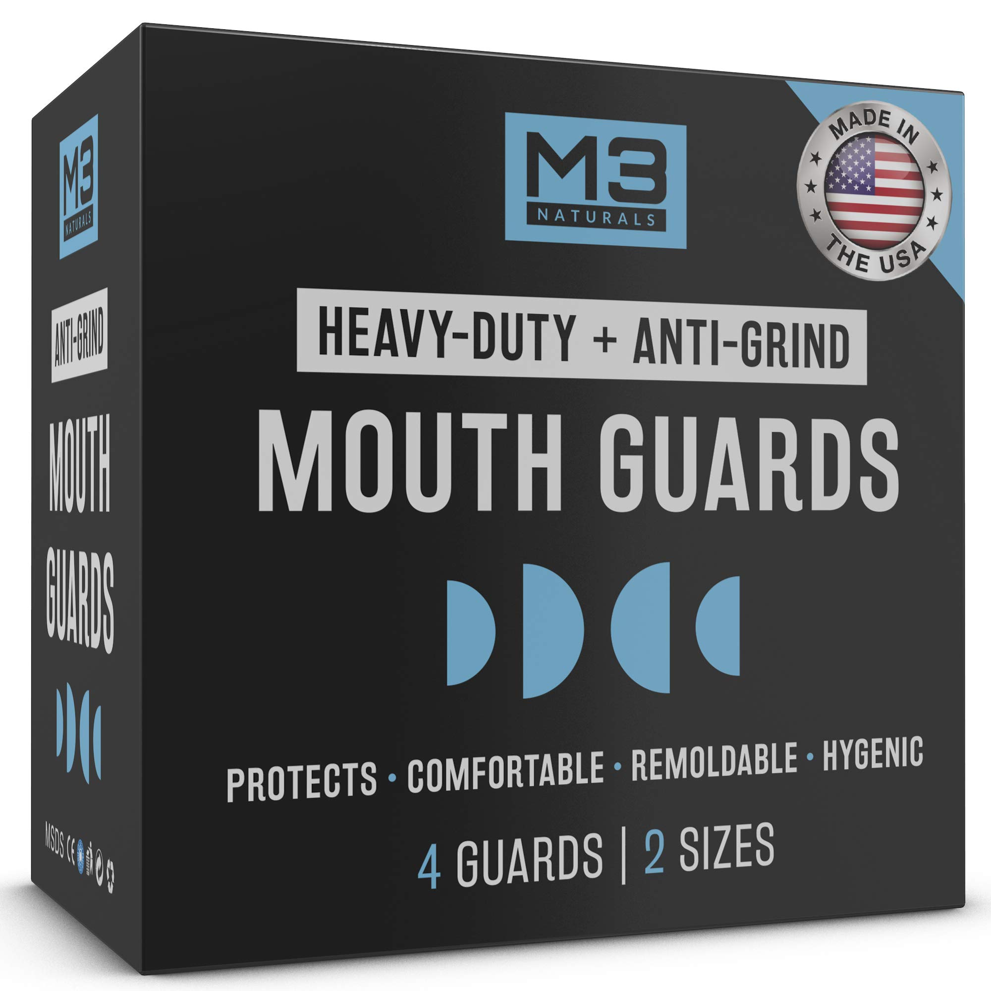 M3 Naturals Heavy Duty Mouth Guards for Teeth Grinding Night Clenching Moldable Trimmable Bruxism Anti Grind Dental Sport Bite Mouthguard Sleep Nightguard Retainer Case 2-Size 4 Pieces by M3 Naturals