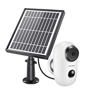 ZOSI 1080p Wireless Battery Camera with Solar Panel, 2.4Ghz WiFi Security Camera Outdoor Indoor,Rechargeable Battery, Two Way Audio, PIR Motion Alerts,Night Vision, Cloud Storage and SD Card Storage
