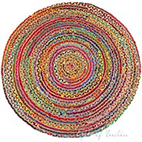 Eyes of India 4 ft Round Colorful Natural Jute Chindi Sisal Woven Area Braided Rug Boho Bohemian Indian