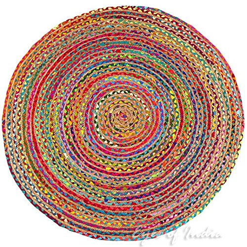 (Eyes of India - 4 ft Round Colorful Natural Jute Chindi Sisal Woven Area Braided Rug Boho Bohemian Indian)