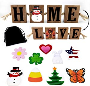 Winder Wooden Freestanding HOME Sign & LOVE Sign Block Cutout Letter Sweet Home Decorative Sign, with 10 PC Interchangeable and Seasonal Signs Home Sentiments, Christmas, Halloween